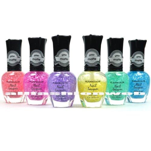 6 Kleancolor Nail Polish Matte Glitter Sugar Candy Inspired Top Coat ...