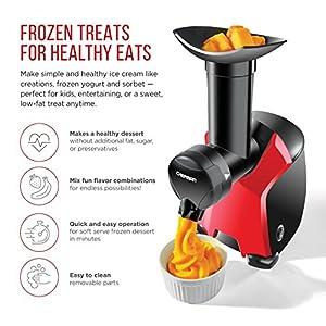 Chefman Frozurt Frozen Dessert Maker Healthy Dairy Free Vegan Ice Cream Soft Serve Frozen Yogurt Fruit Sorbet Sherbet Machine Simple One Push Operation Black by Chefman