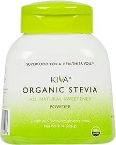 Kiva Organic Stevia Powder Natural Sweetener - Non-gmo Vegan Zero-calories- Sugar Free No Aftertaste And Grown In Usa 8-ounce