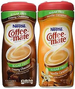 Nestle Sugar Free Coffee-mate Bundle - Vanilla Caramel 102 Oz Creamy Chocolate 102 Oz